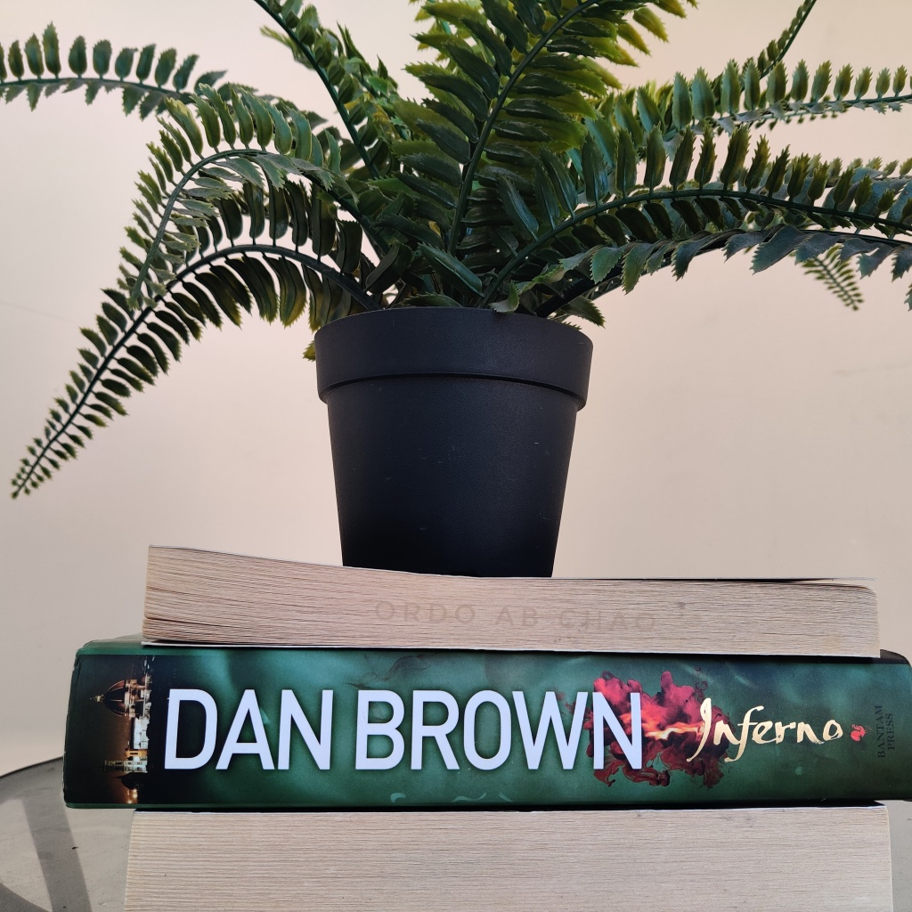 The bulky hardcover Inferno by Dan Brown